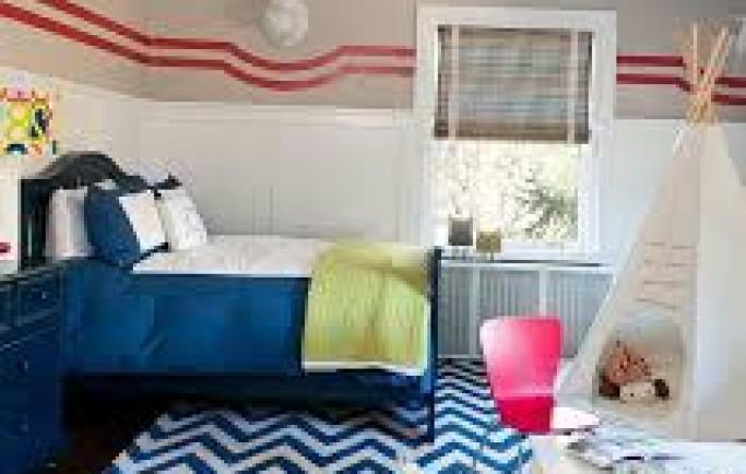 Cách trang trí phòng ngủ với họa tiết Chevron