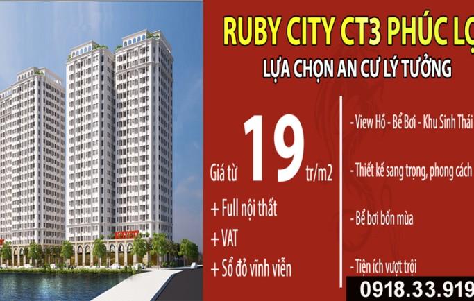 Chung cư Ruby City CT3 Phúc Lợi, sống xanh phúc lớn lợi nhiều