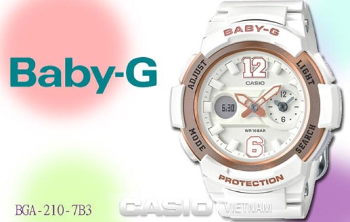Đồng hồ Casio Baby-G BGA-210-7B3DR màu trắng tinh khôi cho cô nàng