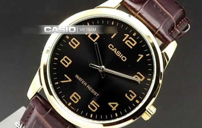 Đồng hồ Casio LTP-V001GL-1BUDF mặt đen cùng viền vàng sáng bóng