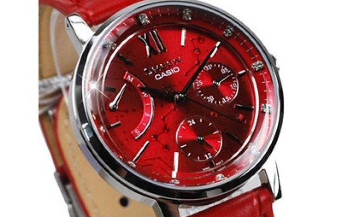 Đồng hồ Casio nam dây da SHE-3028L-4A dây da đỏ cuốn hút người đối diện