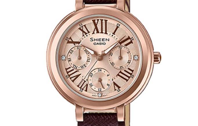 Đồng hồ nữ Casio sheen SHE-3034GL-7A2 mặt vàng hồng quyến rũ