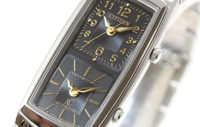 Đồng hồ nữ Citizen EW4000-55E mặt chữ nhật với 2 mặt đồng hồ độc đáo