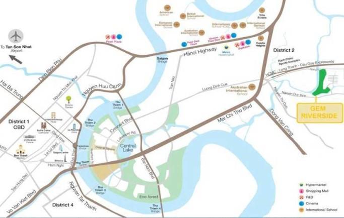 Khả năng gắn kết vùng Gem Riverside Đất Xanh Q.2 tiện lợi ra sao?