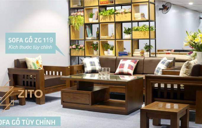 Mẫu sofa gỗ phòng khách đơn giản nhưng vẫn tô điểm đẹp cho ngôi nhà